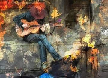 gitar çalan bir erkek görseli