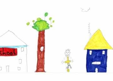bir çocuğun çizdiği okul resmi