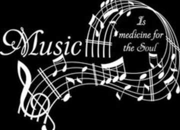 Müzik, ruh için şifadır yazılı bir soyut çalışma.
