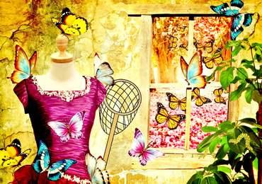 Kelebek elbise sepet bahar çiçek