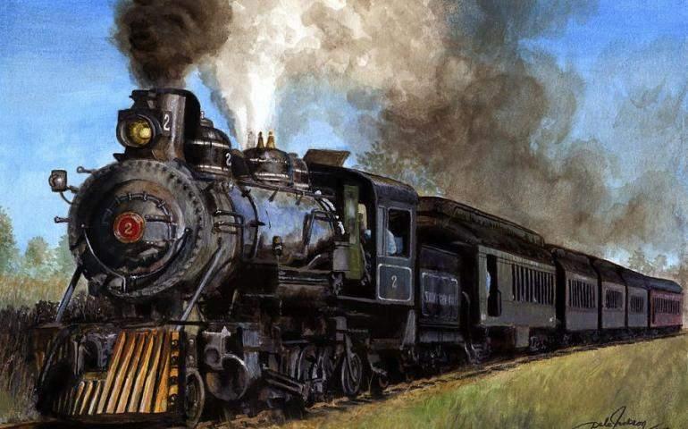 Buharlı Tren Yağlı Boya Çizimi