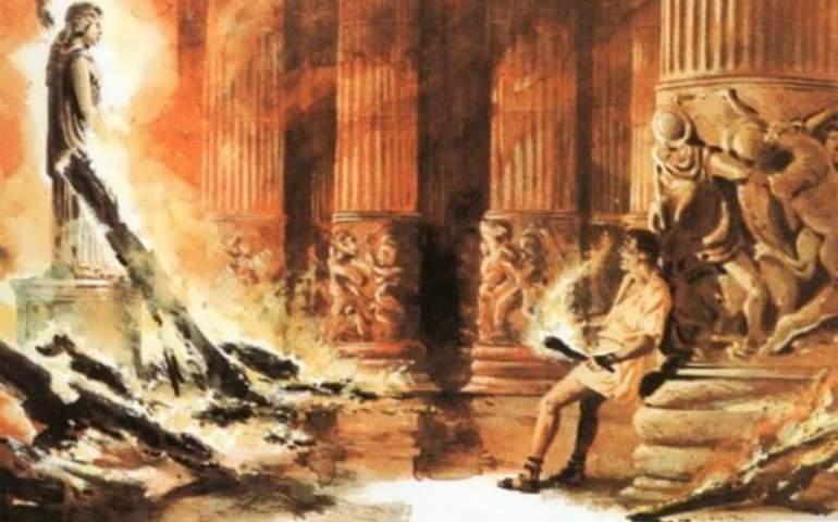 Herostratus'un Artemis Tapınağını yakışını anlatan bir çizim